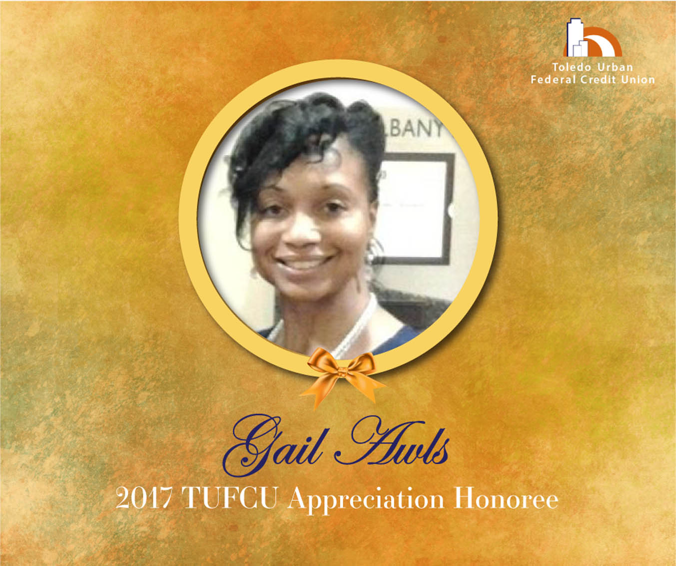 Image of Gail Awles, 2017 T.U.F.C.U. Appreciation Honoree.