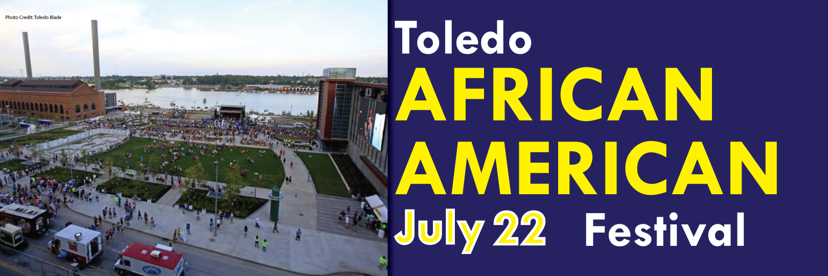 Aerial Photo of Promenade Park and date for Toledo African American Festival